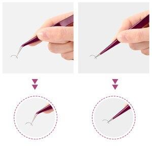 Image 2 - Nieuwe Wimper Extension Wenkbrauw Pincet Paars Gekleurde Roestvrijstalen Rechte Bocht Gebogen Pincet Professionele Makeup Tools