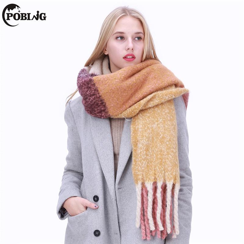 POBING 2017 Plaid Winter   Scarf   Women Echarpe Cashmere Shawl Warm Blanket   Scarves     Wraps   Female Pashmina Bufandas Lady Tassel Cape