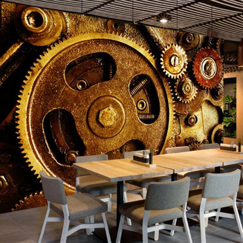 Custom 3 d Wallpaper for Walls Abstract Gear Wall Picture Dining Desktop Wall Mural Vintage Europe Industrial Modern Wallpaper custom mural 3d photo wallpaper european trend street graffiti ktv bar painting 3d wall murals wallpaper for walls 3 d