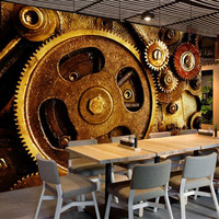 Custom 3 d Wallpaper for Walls Abstract Gear Wall Picture Dining Desktop Wall Mural Vintage Europe Industrial Modern Wallpaper