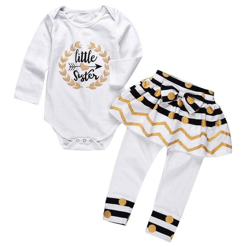 2018 NEW 2Pcs Autumn Baby Girls Litters Printed Long Sleeve Romper + Polka Dot Skirt Legging Pants Outfits Set