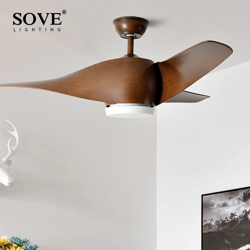 SOVE Brown Vintage Kipas Siling Dengan Lampu Kawalan Jauh Ventilador De Techo 220 Volt Bedroom Ceiling Light Fan Lamp Mentol LED