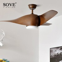 SOVE Brown Vintage Ceiling Fan With Lights Remote Control Ventilador De Techo 220 Volt Bedroom Ceiling Light Fan Lamp LED Bulbs