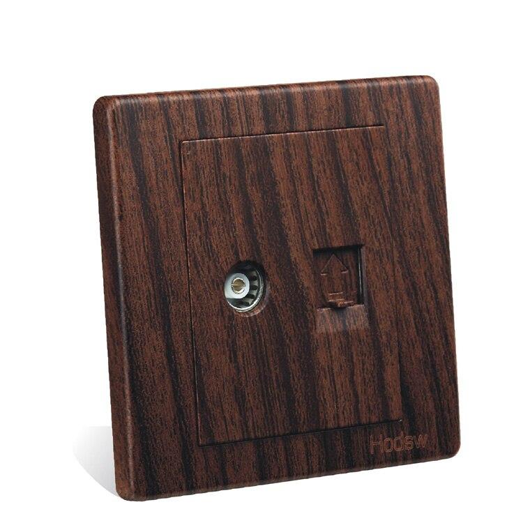 interruptor de pared panel socket number de tipo de madera de grano de color cable