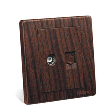 Wall Switch Socket Panel 86-Type Wood-Grain-Color Network Cable And TV Outlets With Socket, PC 220V 10A