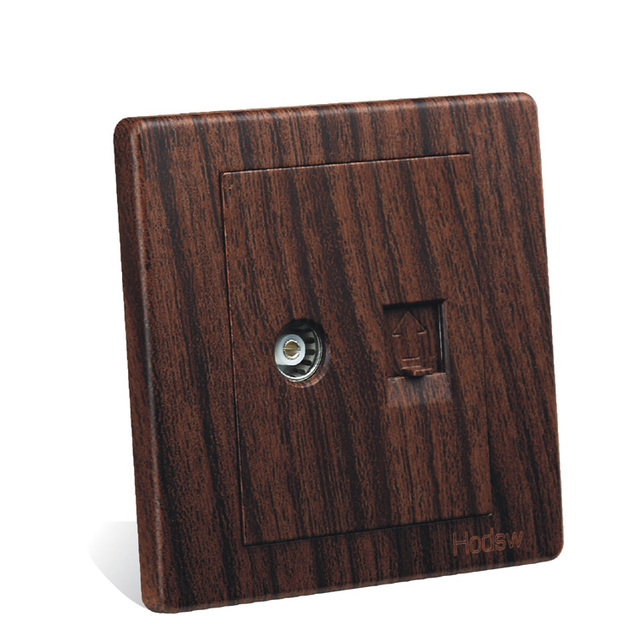 Wall Switch Socket Panel 86 Type Wood Grain Color Network Cable And