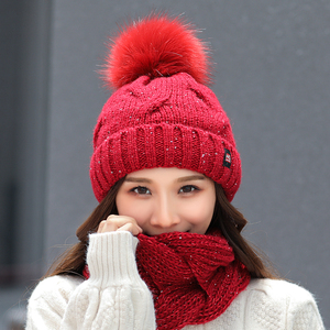 Image 2 - 2018 Winter Fashion Sequins Knitted Hat Scarf Set Pompom Beanies Hat For Women brand new thick skullies Warm neck female cap