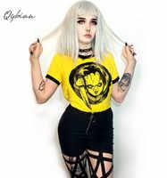 Mujeres dulce Crop Top camiseta Hip Hop dibujos animados estampado Casual Camisetas cuello redondo señoras moda amarillo lindo Streetwear Tops camisetas