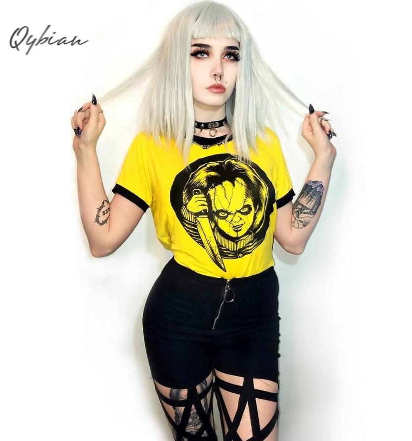 Mulheres Top Colheita Doce Camiseta Hip Hop Dos Desenhos Animados Imprimir Casual O Pescoço T-shirt Da Forma Das Senhoras Amarelo Bonito Tops Streetwear camisetas