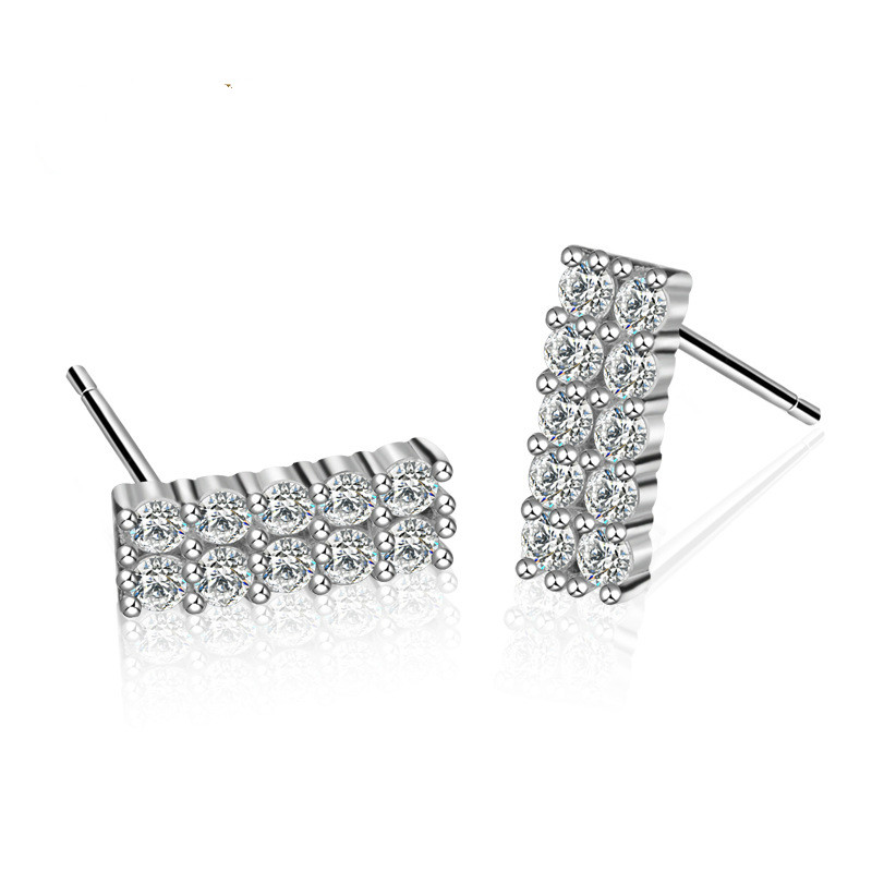 Korean version of the sterling silver straight diamond rectangular earrings s925 female jewelry zircon earrings creative silver