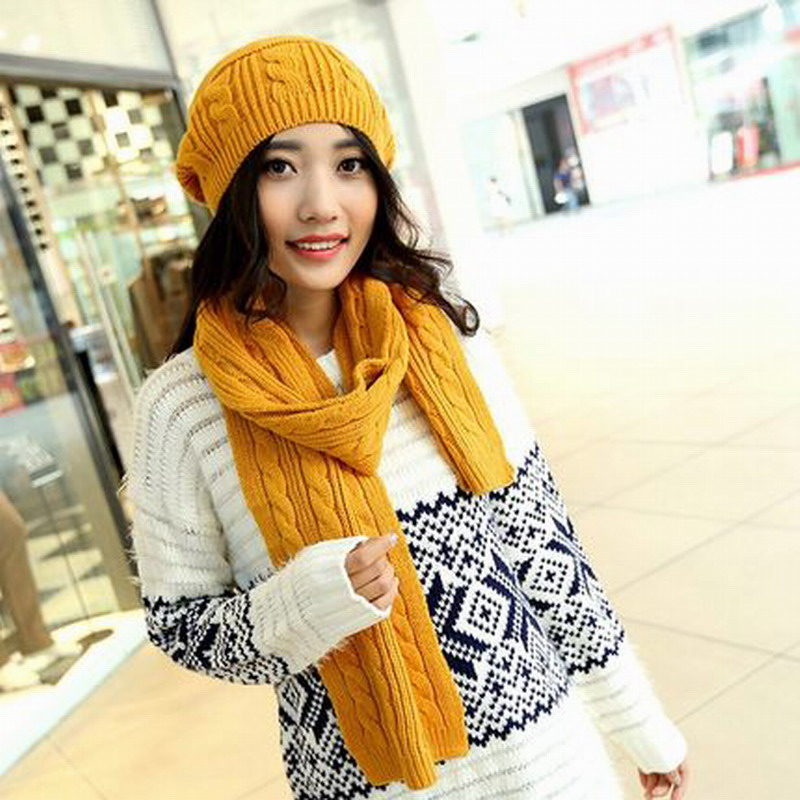 New brand female wool cap scarf twinset women s winter thickening set yarn  knitted hat scarf sets women s winter hat knit scarf 3c65b33719c