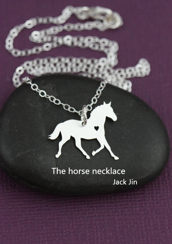 New Trendy Gold And Silver Personalized Contracted Horse Necklace I Heart Horse Hunger Games Necklace Women Best Friend