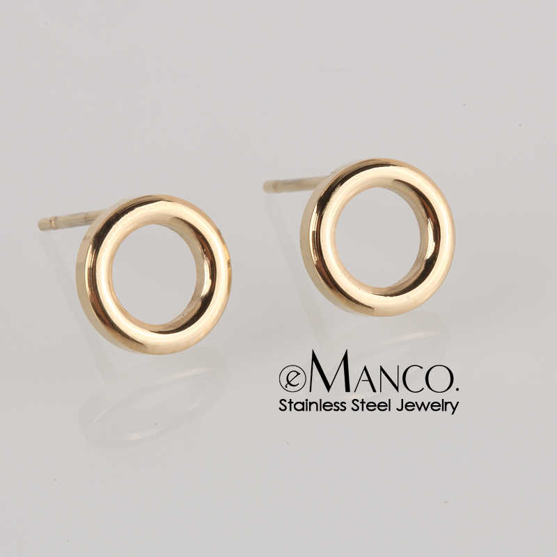 e-Manco Trendy Stainless Steel Earrings Minimalist Small Round Earring Korean Style Stud Earrings for Women Fashion Jewelry Gift