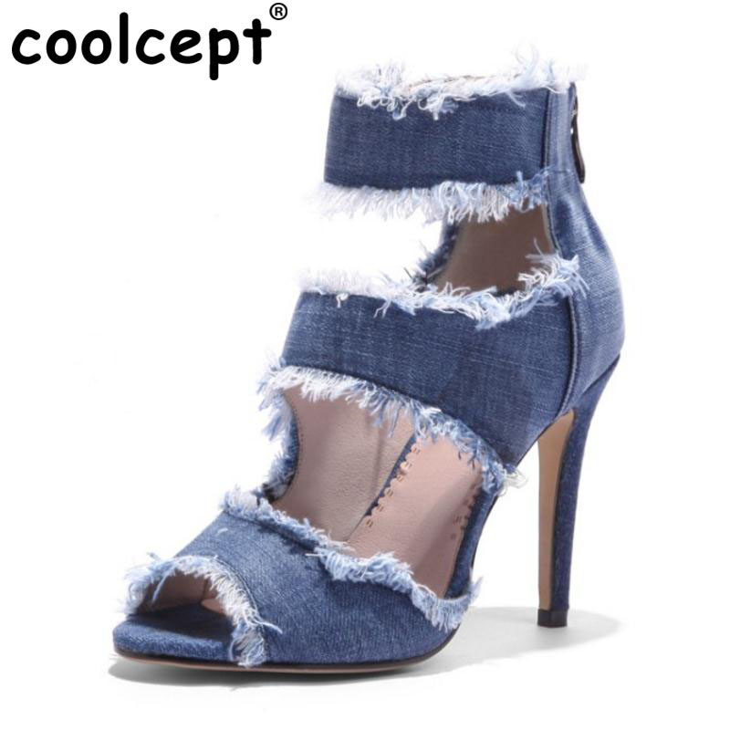 Coolcept Size 33-43 Ankle Strap Women Sandals High Heel Shoes Open Toe Office Zipper Sexy Denim Thin Heels Shoes Women Footwear meotina shoes women sandals summer sexy stiletto high heel sandals open toe ankle strap party pumps lady shoes purple size 34 43