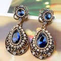 Perfect Super Austrian Crystal Max Brinco Grandes Women Vintage Earings Turkish Jewelry Shiny Blue Rhinestone Brinco Aretes Vaz