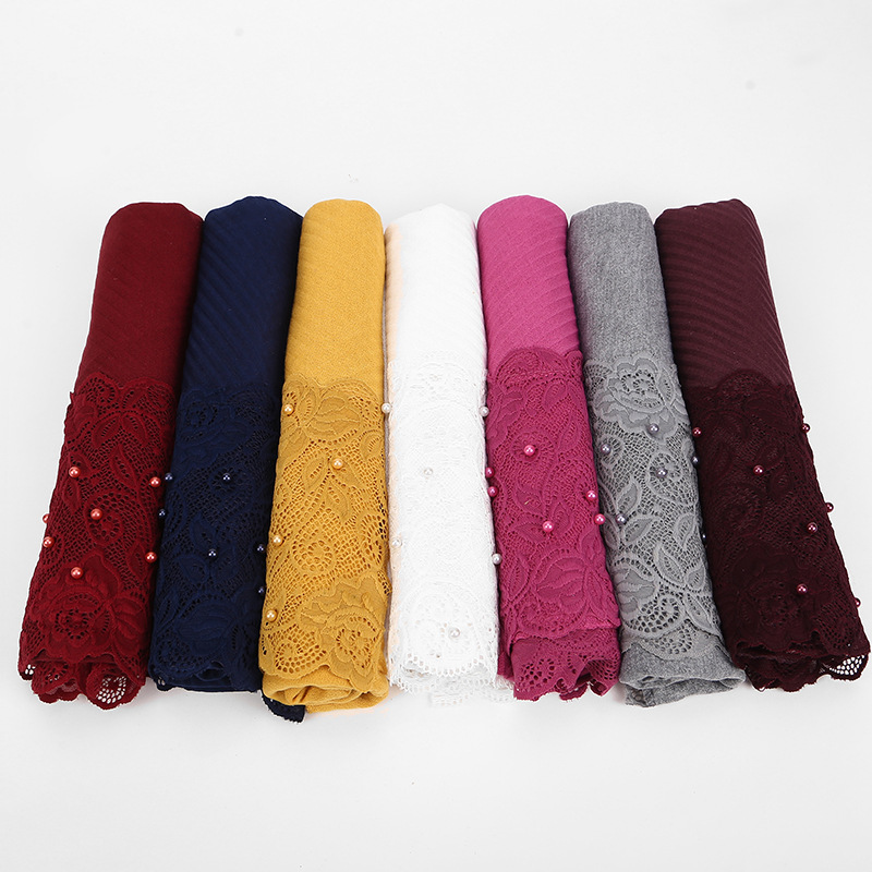 2019 New Red Yellow Black White Crinkle Pleated Lace Floral Hijab Scarf Shawl Women Pearl Crinkle Muslim Head Hair Scarves Wraps