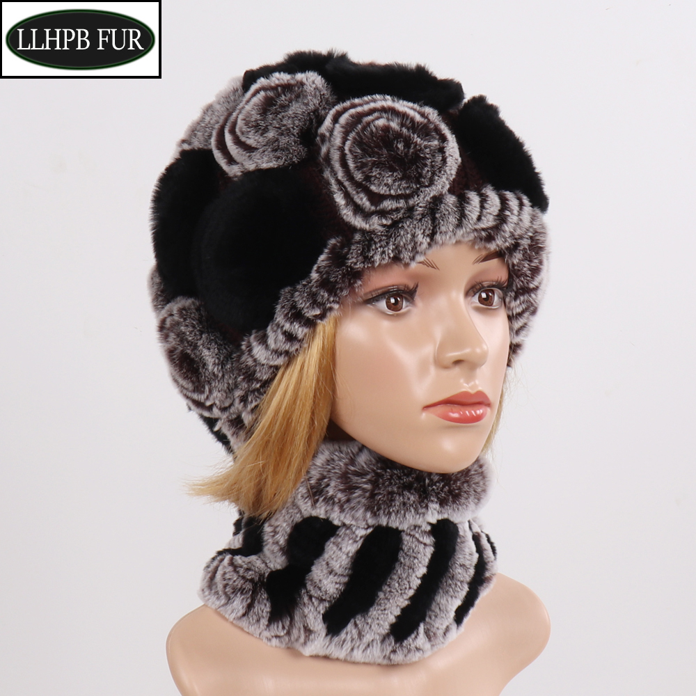 New Women Real Rex Rabbit Fur Hats Scarves Sets Winter Lady Knitted Genuine Fur Hat Scarf Good Elastic Natural Fur Hats Mufflers
