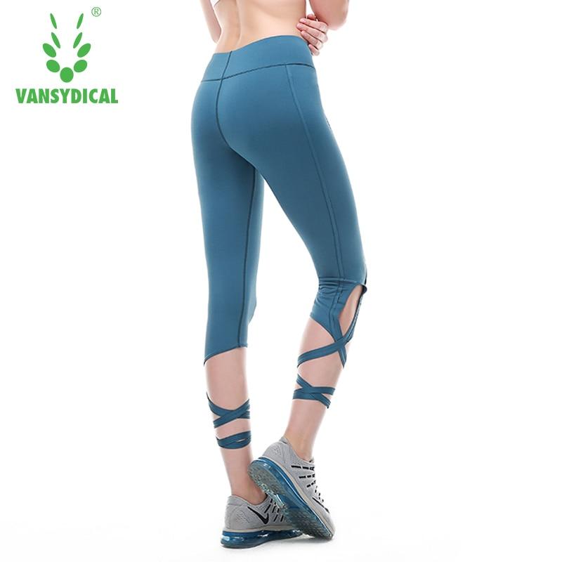 Dance Bandage Capri Leggings Yoga font b Fitness b font Gym Running Women Pants Straps Workout