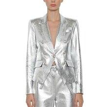 Женский блейзер в стиле барокко, дизайнерский пиджак из искусственной серебристой кожи с металлическими пуговицами в виде льва, верхняя одежда, 2020