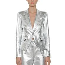 جاكيت بتصميم عصري باروكي أحدث موضة 2020 للنساء بأزرار معدنية على شكل أسد معطف خارجي من الجلد الصناعي الفضي