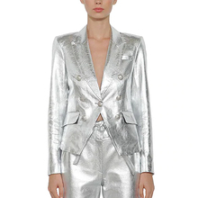 HIGH STREET Newest Baroque Fashion 2020 Designer Jacket Womens Lion Metal Buttons Faux Silver Leather Blazer Outer Coat