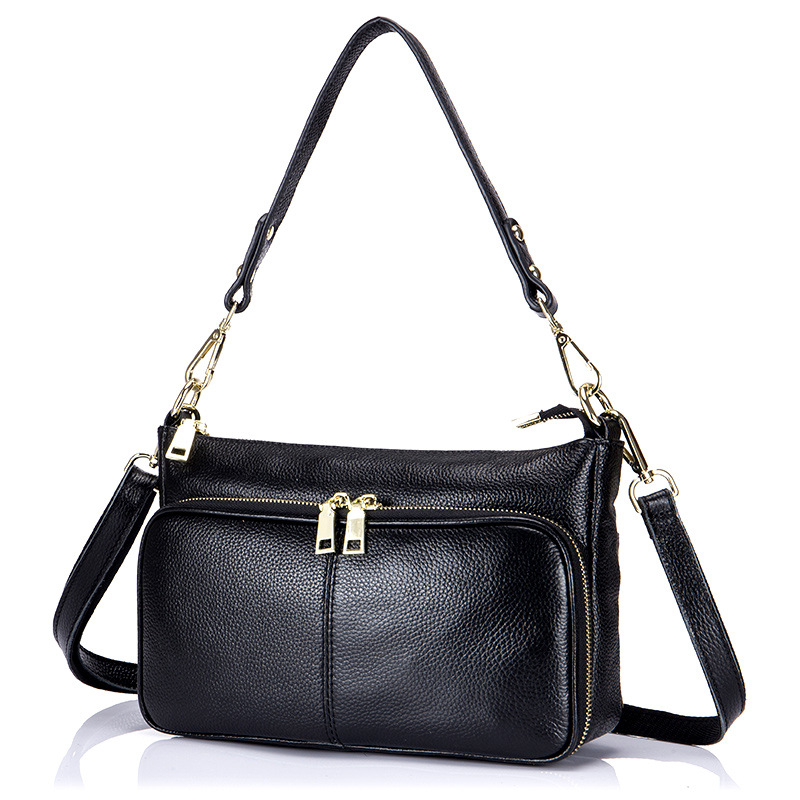 Small Bag Female New Fashion Genuine Leather Handbags Ladies Shoulder Bags Practical Multilayer Zipper Women Messenger Bags bag female new genuine leather handbags first layer of leather shoulder bag korean zipper small square bag mobile messenger bags