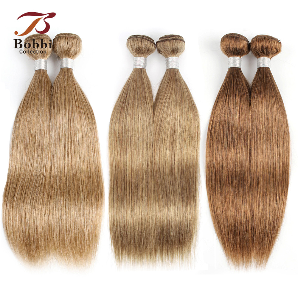 Bobbi Collection Color 8 27 30 Honey Blonde Remy Human Hair Extension Pre Colored Brazilian Straight