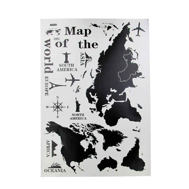 Schwarz Große Weltkarte Wand Aufkleber Aufkleber 60*120cm Große Vinyl Wand Aufkleber Wohnkultur Wohnzimmer Abnehmbare 3D Kunst Zitate Poster