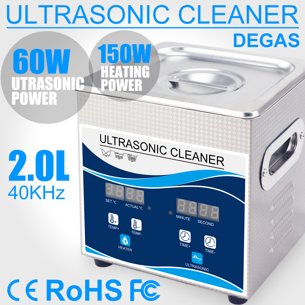 60W Digital Ultrasonic Cleaner Degas 2L Stainless Steel Bath with 150W Heater Ultrasonic Cleaning Machine Home Glasses Jewelry
