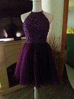 Free Shipping Pretty Halter Purple Keyhole Back Beading Short Prom Dresses Vestido De Festa Girls Party