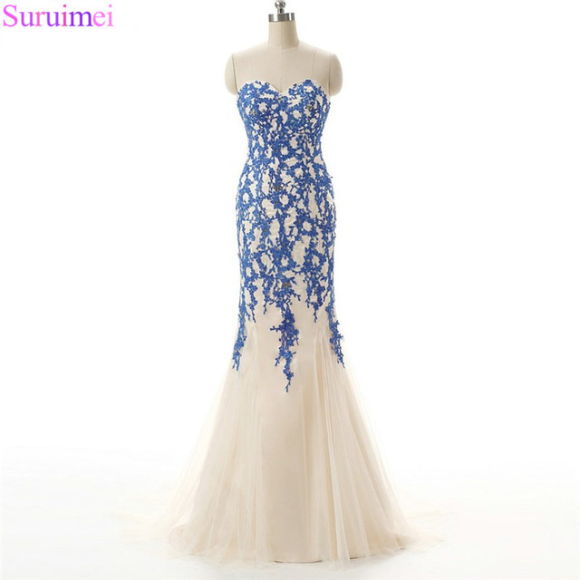 9cd352dbf8f5d High Quality Tulle Light Champagne Color With Applqiue Sweetheart Long  Evening Dresses Lace up Back Mermaid Formal Evening Gown-in Evening Dresses  ...
