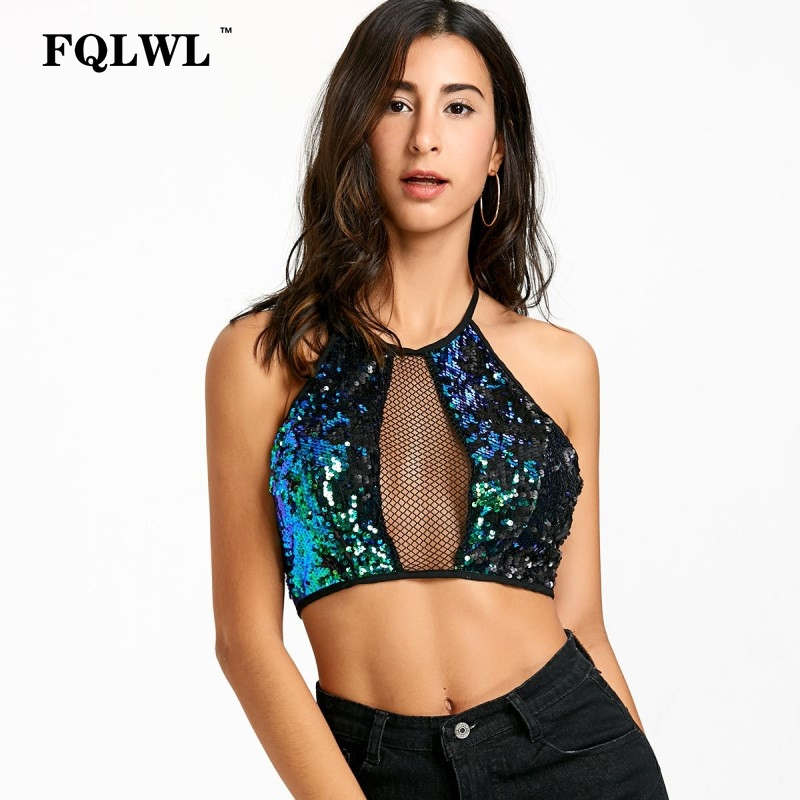 FQLWL Sequins Patchwork Backless Sexy Tank Top Sexy Lace Up Halter Hollow Out Crop Top High Street Mermaid Short Party Top