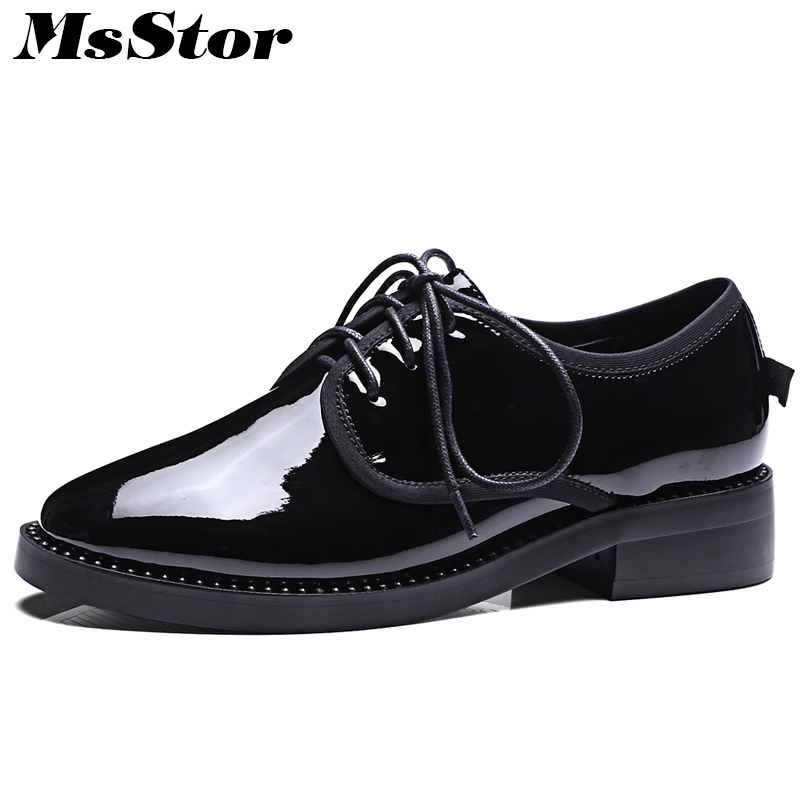 MsStor Round Toe Cross tied Women Flats Casual Fashion Ladies Flat Shoes 2018 Spring Cow Leather Women Flat Brogue Shoes cresfimix women cute spring summer slip on flat shoes with pearl female casual street flats lady fashion pointed toe shoes