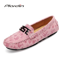 hot deal buy plardin new summer women genuine leather shoes comfortable metal decoration appliques sewing flats loafers casual ballet flats