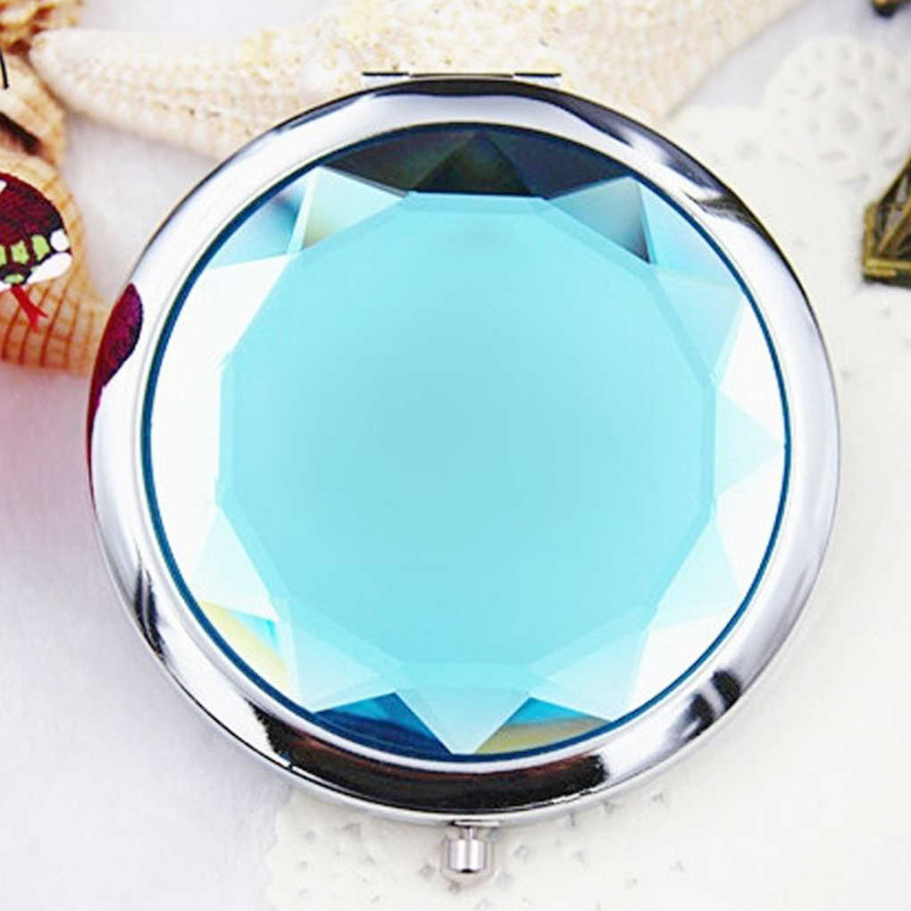 2018 New Women Girls Crystal Mini Beauty Pocket Mirror Makeup Portable Compact Round Folding Mirror