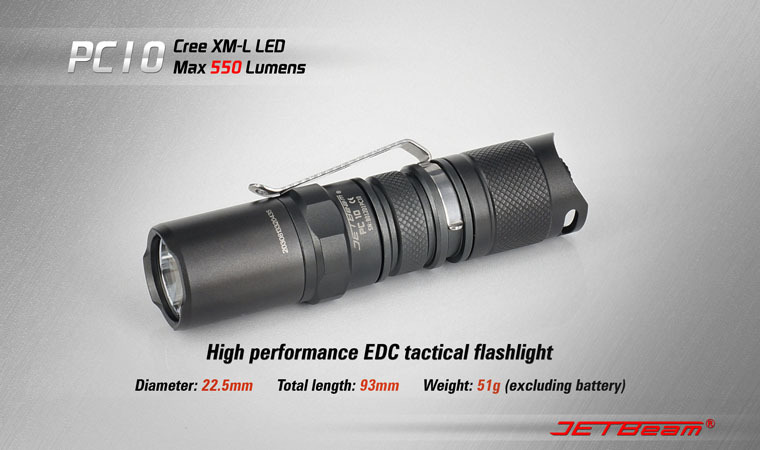 Free Shipping Original JETBEAM PC10 Cree XM-L T6 LED 550 lumens flashlight daily EDC torch Compatible with CR123 battery 3800 lumens cree xm l t6 5 modes led tactical flashlight torch waterproof lamp torch hunting flash light lantern for camping z93
