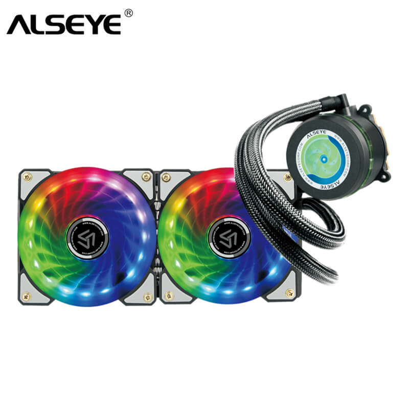 ALSEYE Water Cooler 240mm RGB PC Fans and Pump CPU Cooler 4Pin PWM Fan Water Cooling alseye computer fan cooler pwm 4pin 120mm pc fan for cpu cooler radiator pc case 12v 500 2000rpm silent cooling fans