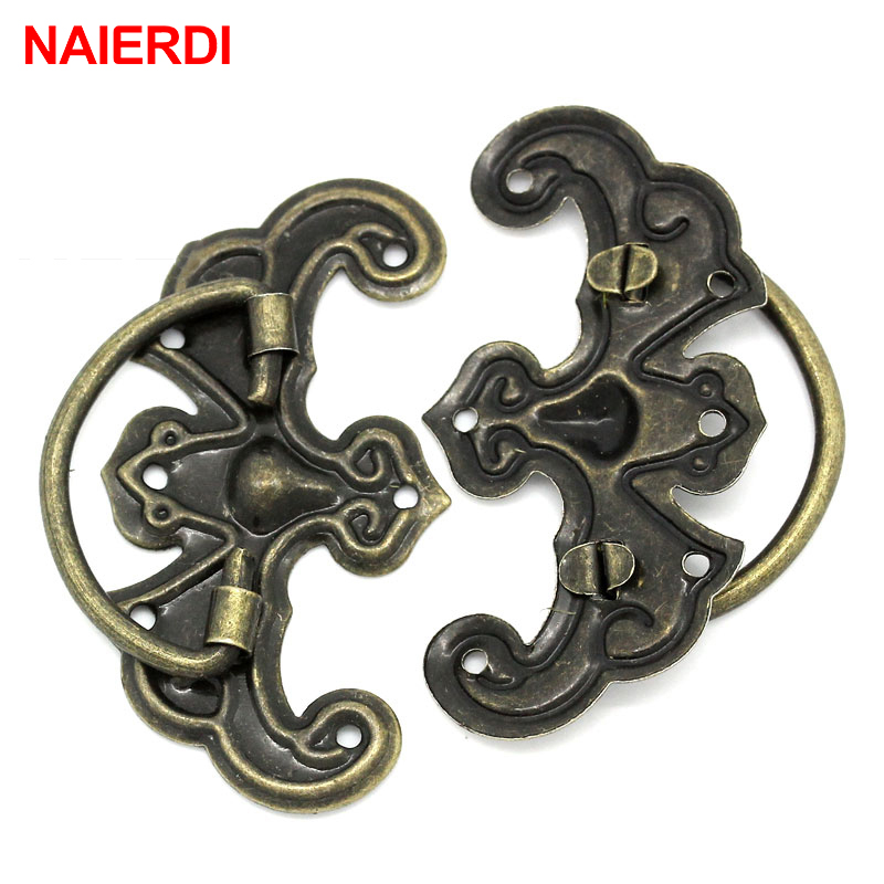 5PCS NAIERDI Retro Bronze Tone Handles Drawer Cabinet Desk Door Jewelry Box Pulls Handle Wardrobe Knobs For Furniture Hardware 10pcs naierdi mini bronze gold hinge square antique door hinges for wooden cabinet drawer jewellery box furniture hardware