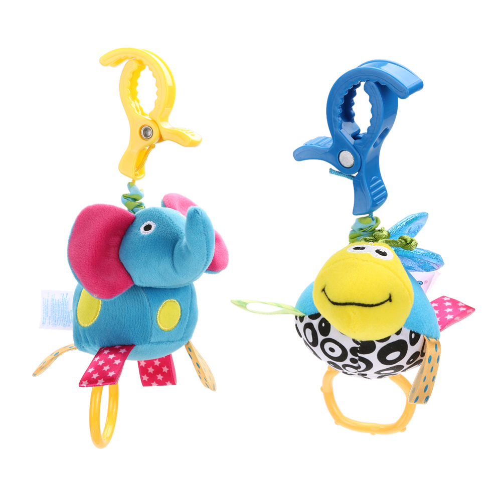 Cute Cartoon Animal Plush Doll Blue Elephant Baby Kids Soft Bed Hanging Toy Hanging Rattle Bell Plush Grasp Toy for Children