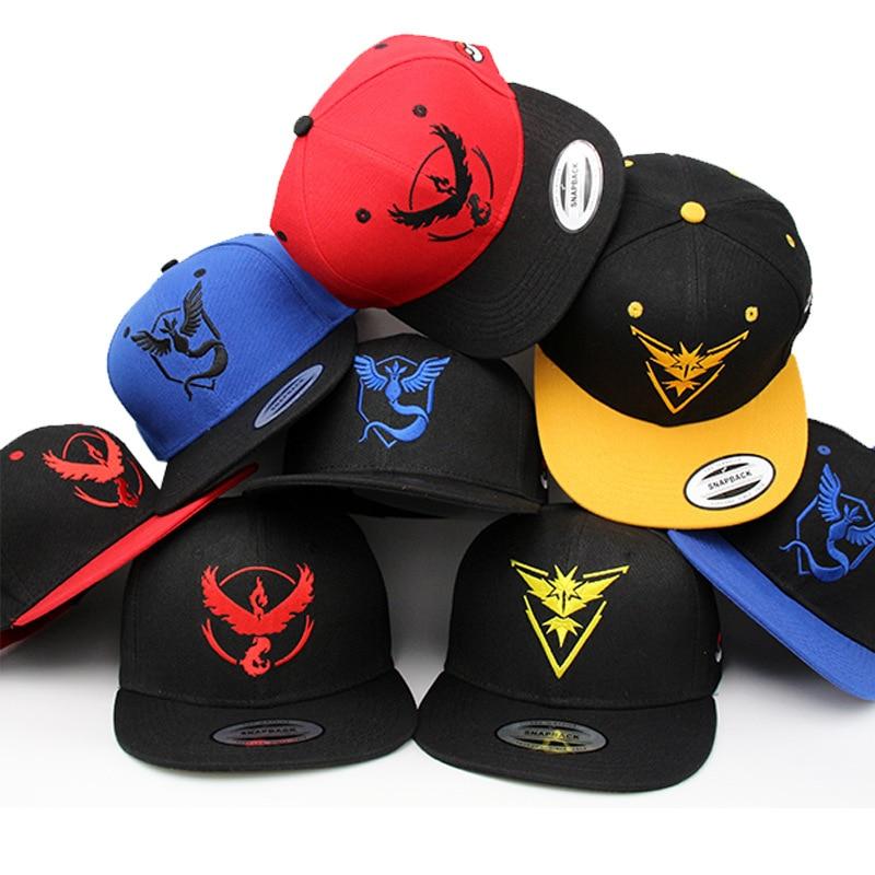 HOT snap back hats  Game Pokemon Go snapback Baseball Cap casquette  Valor  Mystic  Instinct hip hop  Man Women PK31