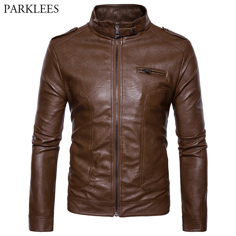 Mens Motorcycle Jacket Blouson Cuir Homme 2017 Casual Stand Collar Mens Autumn Winter Leather Jacket Pocket Zipper Jackets 2XL