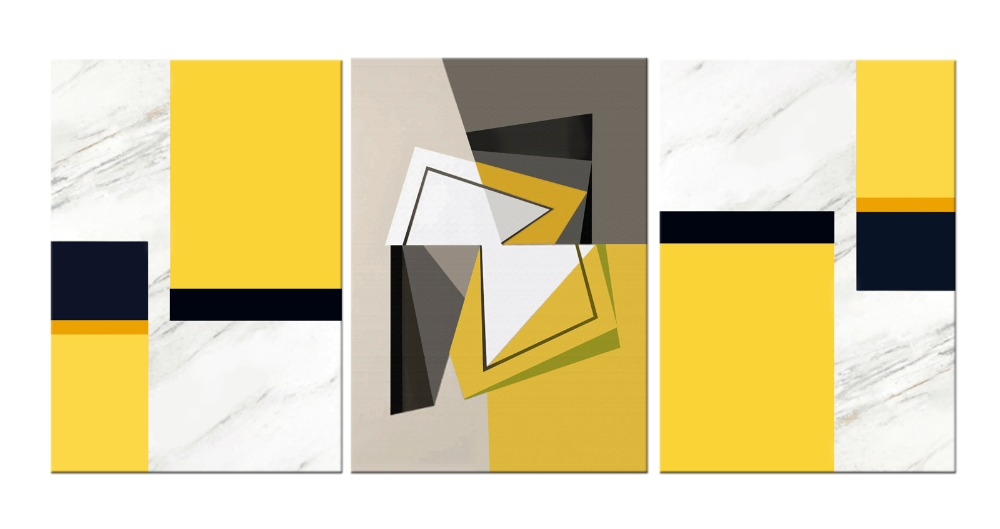3 Piece Abstract Geometric Yellow Black White Canvas Wall Art ...