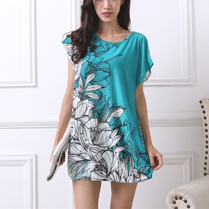 2018 nieuwe vrouwen T-shirt Jurk Plus Size Vrouwen mini-jurk met korte mouwen Losse Casual Tops print tuniek jurken 5xl