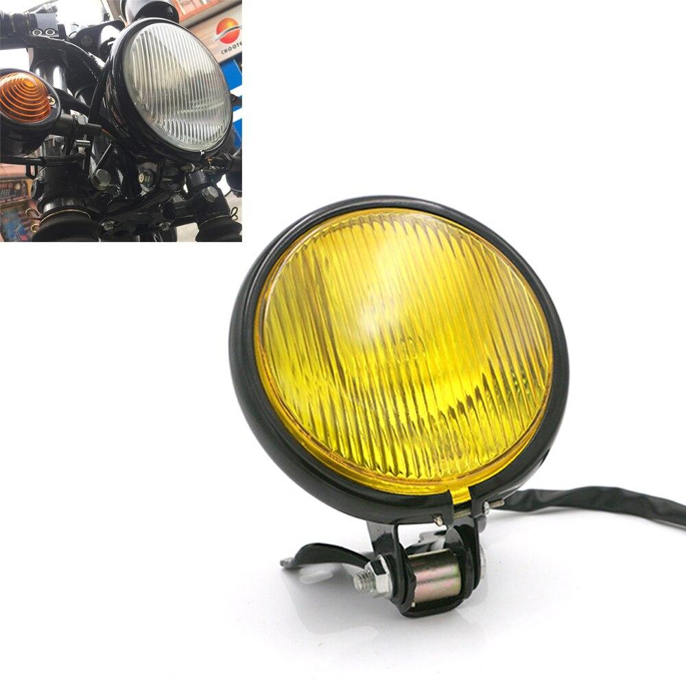 Retro Aluminum Motorcycle Headlight 12V Black Hi-lo Beam Bulb For CG125 GN125 For Harley Suzuki Cafe Racer