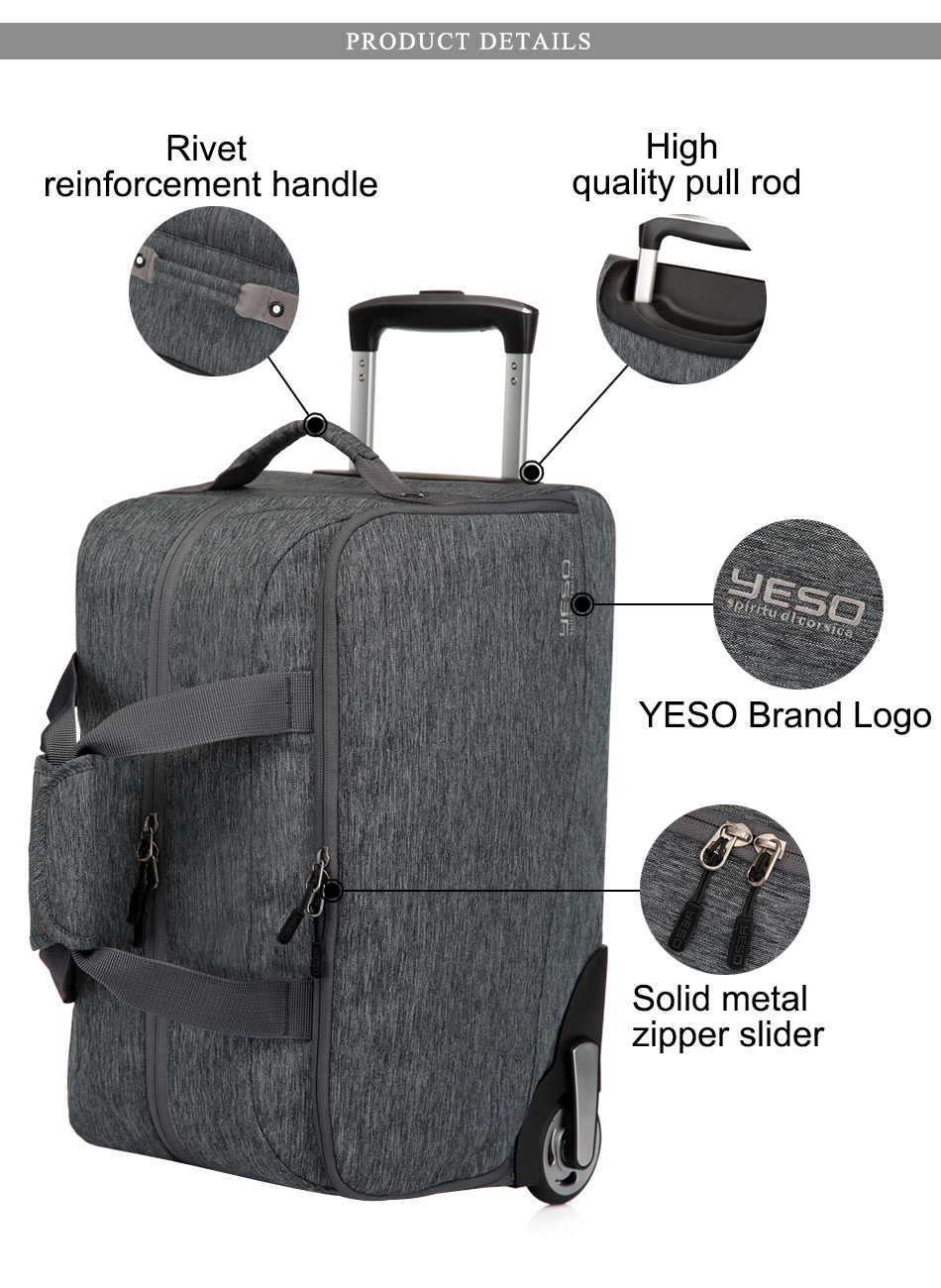 f76c2d8ae0bc YESO Trolley Travel Bag Unisex Hand Luggage 20 inch 32L Rolling Duffle Bags  Waterproof Oxford Suitcase Wheels Carry On Luggage 1Luggage 2Travel bags ...