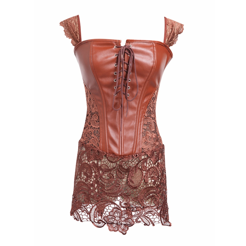Sexy Lingerie Women Black Brown Red Faux Leather Lace Burlesque Steampunk Corset Dress Waist Gothic Club Corset Dress Plus Size