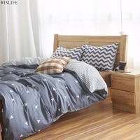 WINLIFE Gray Triangle Beding Set Gray Striped Duvet Covers Boys Bed Linen