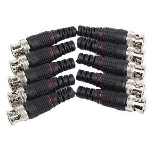 10 шт., контактный штекер BNC, адаптер без припоя с прямым углом, разъем BNC для камеры видеонаблюдения, домашней системы безопасности