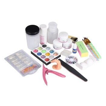 2017 19 pcs Acrylic Nail Art Tips Powder Liquid Brush Glitter Clipper Primer File Set Kit acryl nagels starters set akryl nail Nail Art Kits