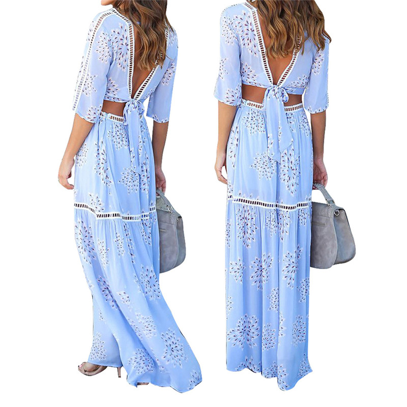 0011511d0c Elegant Sexy Deep V Neck Half Sleeve Maxi Dress Summer Women Floral Maxi  Beach Dress Periwinkle Blue Two Piece Set-in Dresses from Women s Clothing  ...